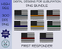 First Responder Flag Sublimation PNG Bundle