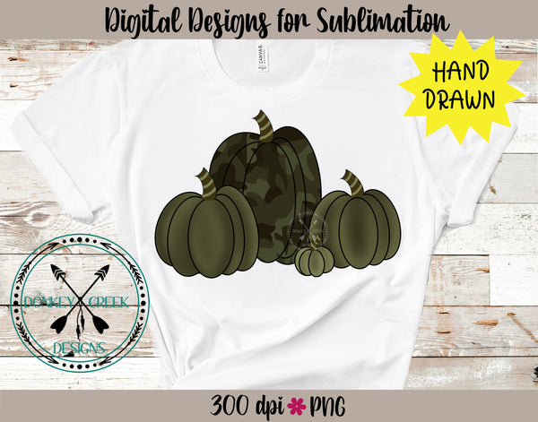 Hand Drawn Camouflage Pumpkins PNG
