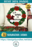 Hand Drawn Christmas Gnomes Wreath Sublimation Design