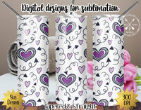 20 oz Skinny Tumbler Design Template-Valentine's Day