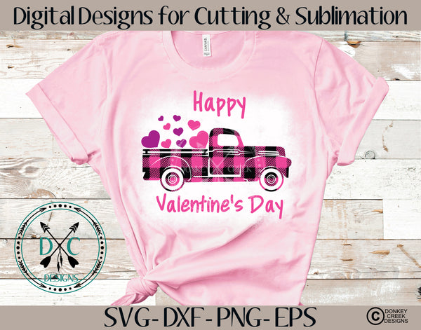 Plaid Valentine's Day Truck SVG