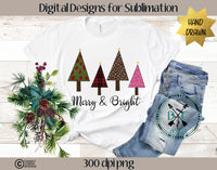 Merry & Bright Hand Drawn Christmas Trees Sublimation Design