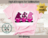 Hand Drawn Valentine's Day Gnomes Sublimation Design