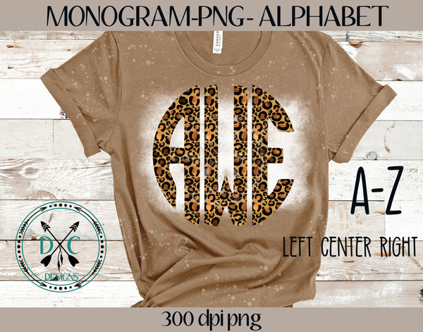 Leopard Monogram Alphabet Sublimation PNG