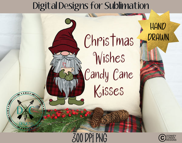 Hand Drawn Christmas Wishes Gnome Sublimation Design