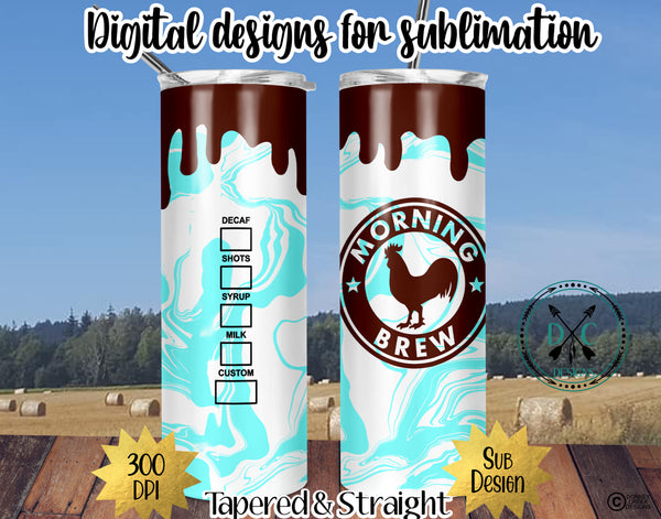 20 oz Skinny Tumbler Design Template- Morning Brew