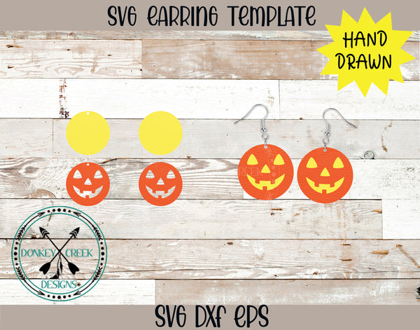 Halloween Pumpkin Layered SVG Earring Template