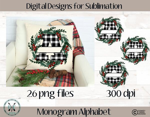 Split Letter Monogram Alphabet Sublimation PNG- Black/White Plaid