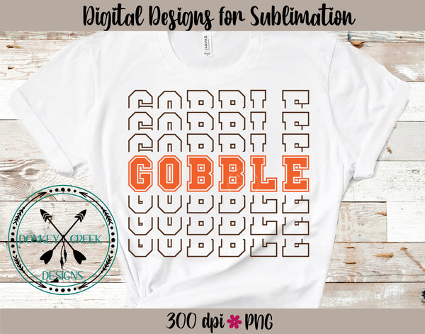 Gobble Thanksgiving  Stacked Letters PNG