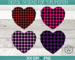 Plaid shabby heart PNG bundle for sublimation
