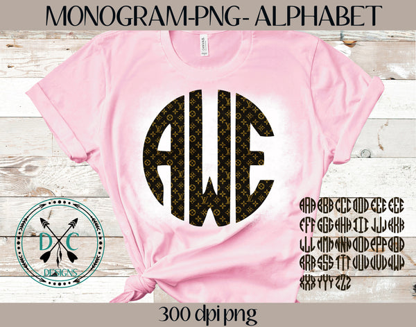 Monogram Alphabet Sublimation PNG