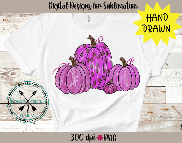 Hand Drawn  Pink Pumpkins PNG Breast Cancer Awareness