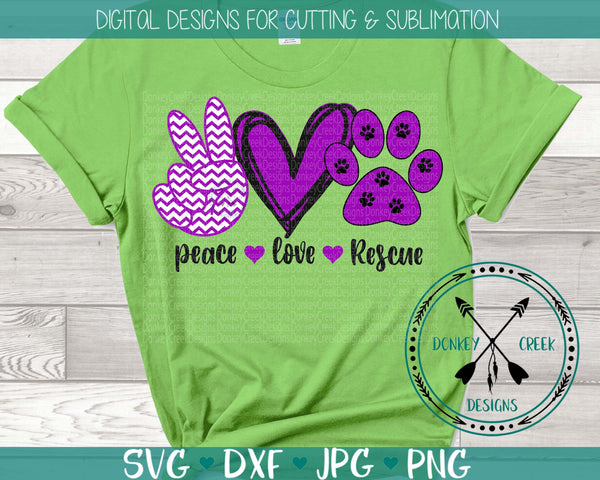 Peace Love Rescue SVG Design