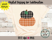 Plaid  Pumpkins Sublimation Design