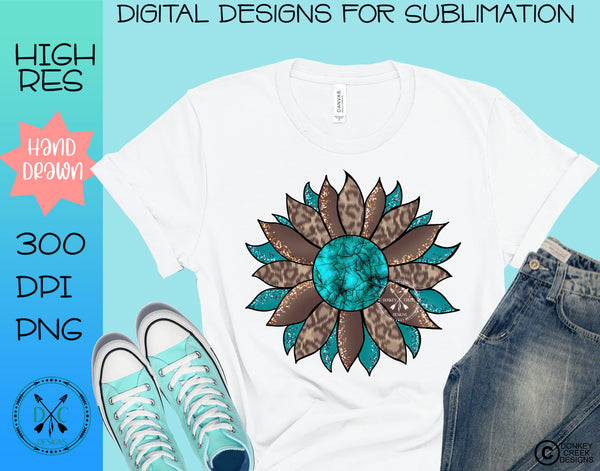 Leopard & Turquoise Sunflower Sublimation Design