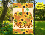 Sunflower Pumpkin Garden Flag Design Template