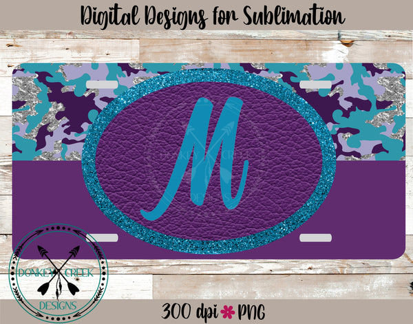 Turquoise & Glitter Camouflage  Monogram License Plate Design Template