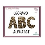 Leopard Print Alphabet Sublimation File