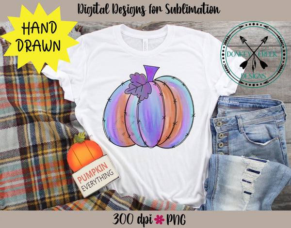 Hand Drawn Watercolor Pumpkin PNG