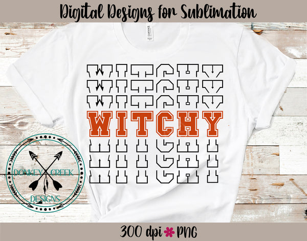 Witchy Halloween  Stacked Letters PNG