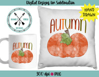 Watercolor Autumn Hand Drawn Pumpkin
