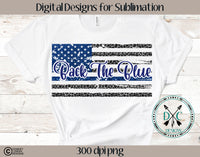 Back The Blue  Distressed Leopard Flag PNG