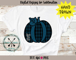 Back The Blue  Hand Drawn Plaid Pumpkin Sublimation Design