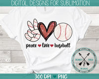 Peace Love Baseball hand drawn sublimation digital download