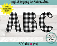 Black and White Plaid Alphabet PNG