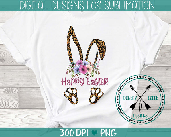 Leopard Bunny Ears Easter Sublimation Design