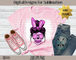 Messy Bun Mom -Easter Bunny Sublimation PNG