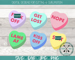 Naughty Conversation Hearts Valentine Candy SVG