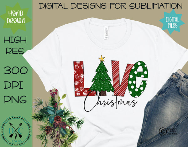 Christmas Love Hand Drawn Sublimation Design
