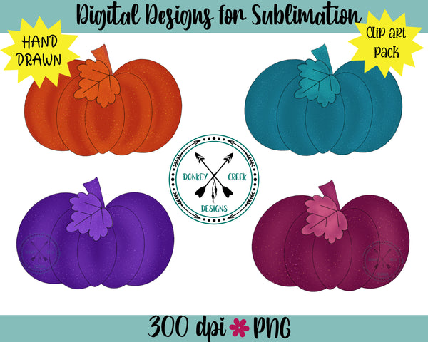 Hand drawn & painted Pumpkin Clipart Bundle