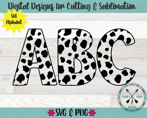 Cow pattern SVG Alphabet
