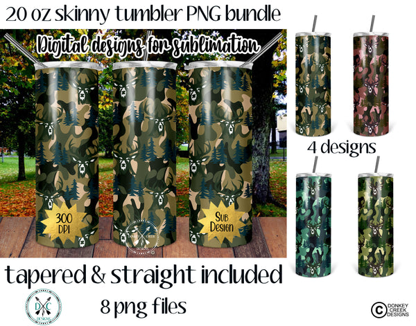 Deer Camo 20 oz Skinny Tumbler Design Template-  PNG Bundle