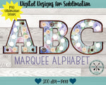 Watercolor floral shabby wood  Marquee Sublimation PNG Alphabet