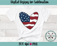 Patriotic Heart Hand Drawn Sublimation PNG