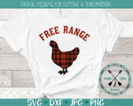 free range hen plaid svg design
