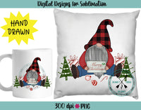Hand Drawn Christmas Gnome Sublimation Design