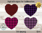 Valentine's Day Plaid Heart Sublimation Design