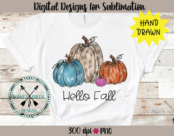 Hand Drawn Pumpkins Hello Fall PNG