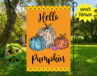 Hello Pumpkin Hand Drawn Garden Flag Design Template