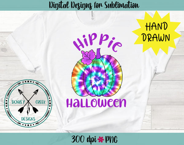 Hippie Halloween Tie Dye Hand Drawn Pumpkin