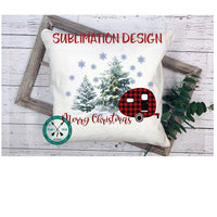 Plaid Christmas Camper Sublimation Design