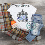 Plaid Thankful Pumpkin Sublimation Design