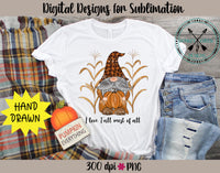 I love Fall Hand Drawn Halloween Gnome Sublimation PNG