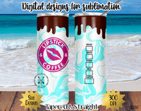 20 oz Skinny Tumbler Design Template- Lipstick & Coffee