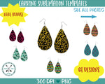 Tear Drop Earring Sublimation Template Bundle 64 designs