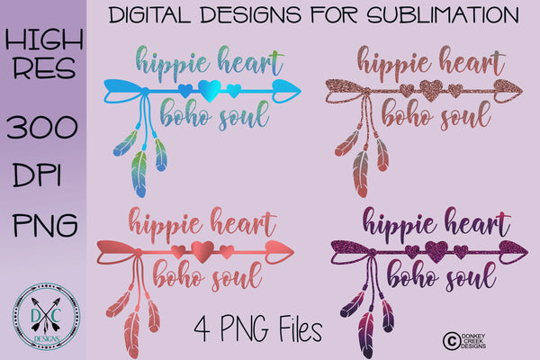 "Hippie Heart, Boho Soul ""glitter"" Sublimation Bundle"